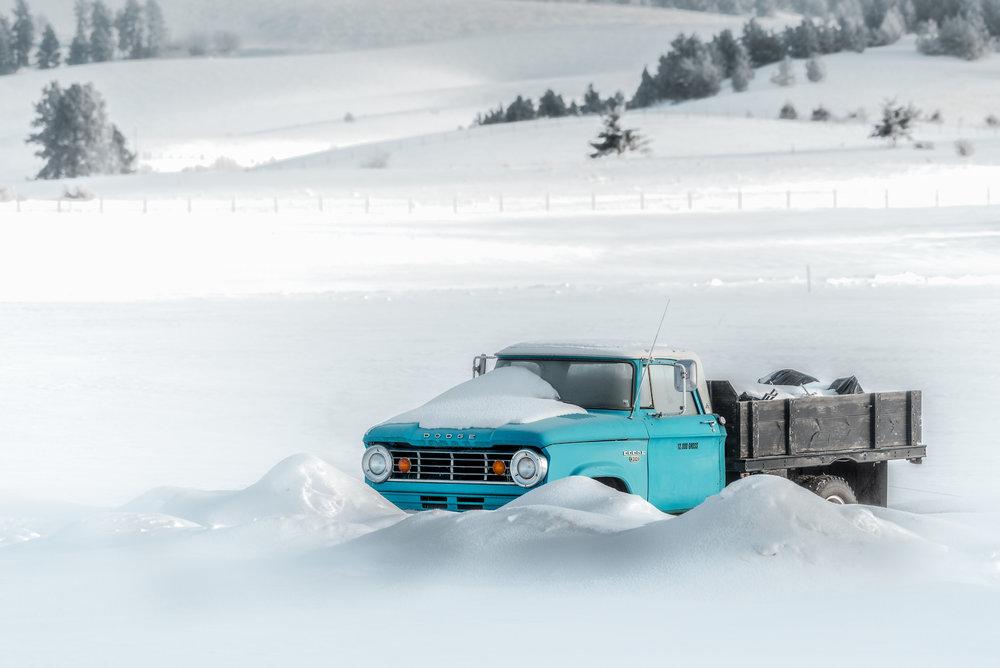 Old Blue Truck in Winter