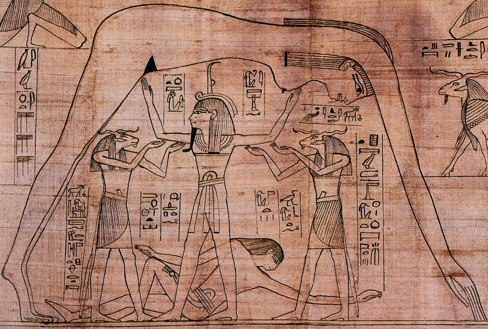 image: Shu god of air holding up the body of Nut, goddess of the heavens; Geb god of earth reclines beneath.  Papyrus of Nesitanebtashru, 21st Dynasty (aka Greenfield Papyrus).  Wikimedia commons (link).