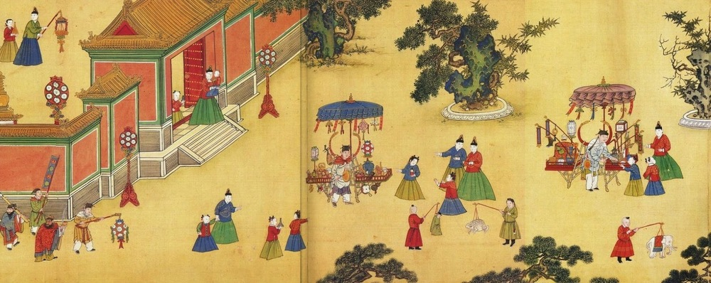 image: detail from Ming Dynasty painting, late 15th century, Wikimedia commons (link).