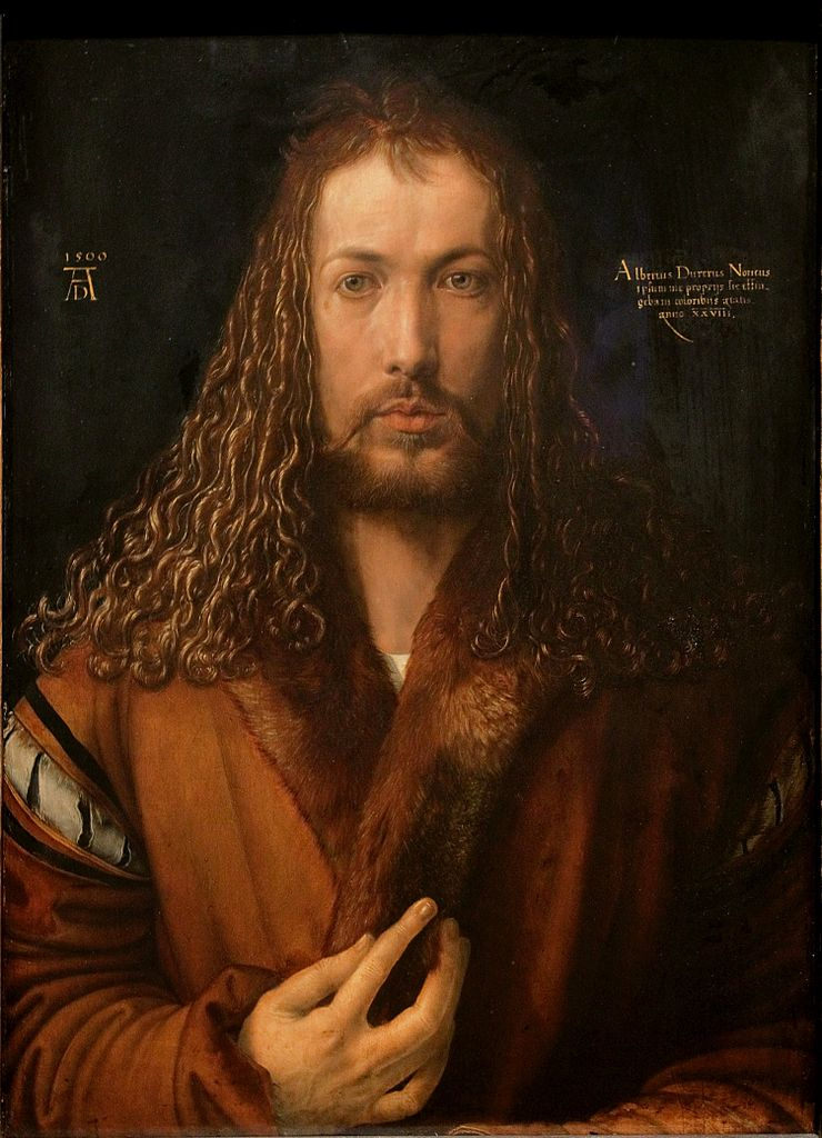 Self-portrait of artist Albrecht Durer, Wikimedia commons (   link   ).