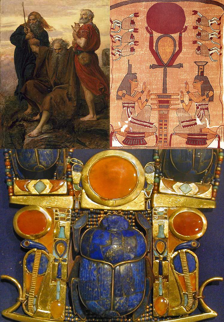 images: Wikimedia commons.    Top left:  https://commons.wikimedia.org/wiki/File:Millais_Victory_O_Lord.jpg    Top right:  https://commons.wikimedia.org/wiki/File:BD_Ankh,_Djed,_and_Sun.jpg    Bottom center:  https://commons.wikimedia.org/wiki/File:Bijou_de_la_tombe_de_Toutânkhamon_(musée_du_Caire_Egypte)_(1815591264).jpg