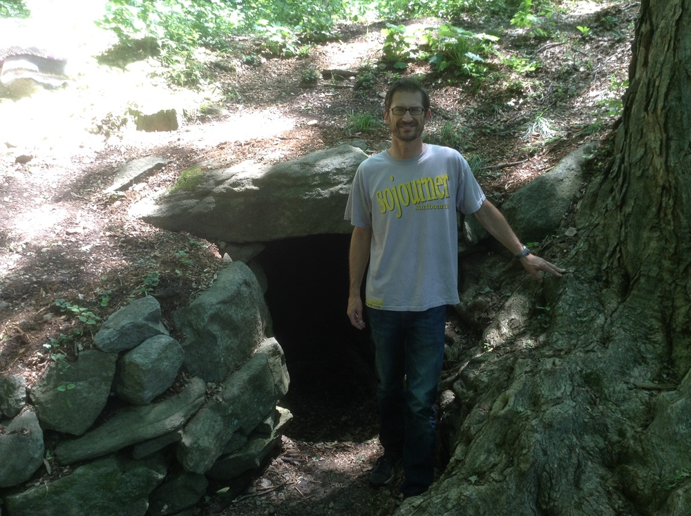 Above: your humble author at the entrance to the passage and the Upton Chamber, for purpose of scale. This photograph was taken on July 03, 2016. Again, the interested reader may wish to compare to images showing the opening from about five years earlier, in September of 2011, which can be seen in the first of the blog posts linked above.