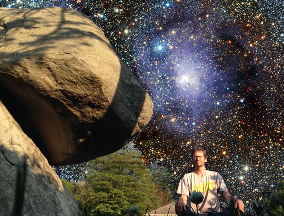 image: Holliston Balancing Rock, with background of stars from the Lagoon Nebula (background image: Wikimedia commons,   link  ).