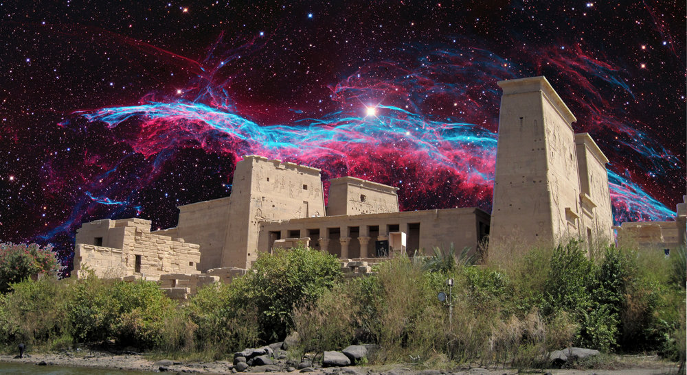 image: Veil Nebula in Cygnus (background), Wikimedia commons (  link  ).   Temple of Isis, originally at Philae on the Nile River (foreground), Wikimedia commons (  link  ).