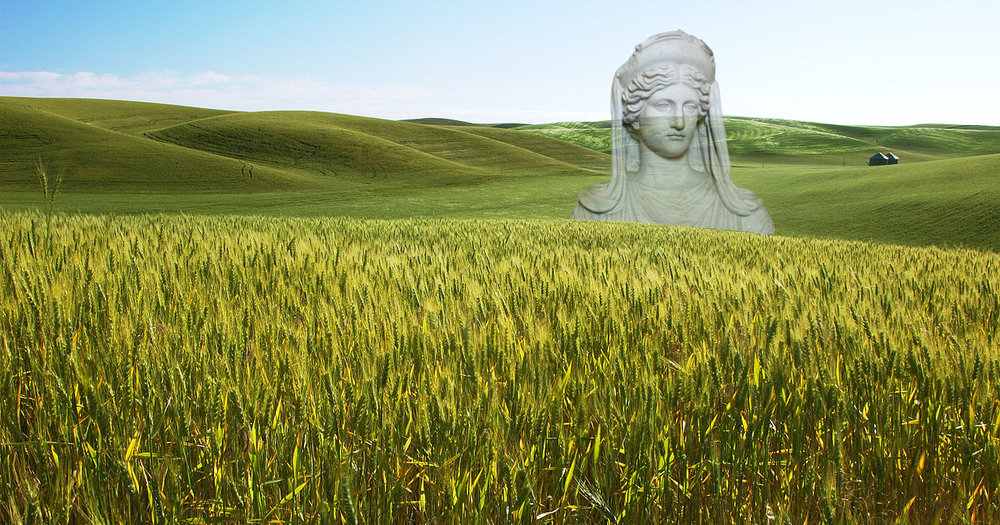 image: Ancient statue of the goddess Demeter, juxtaposed with field of barley. Wikimedia commons (link and link).