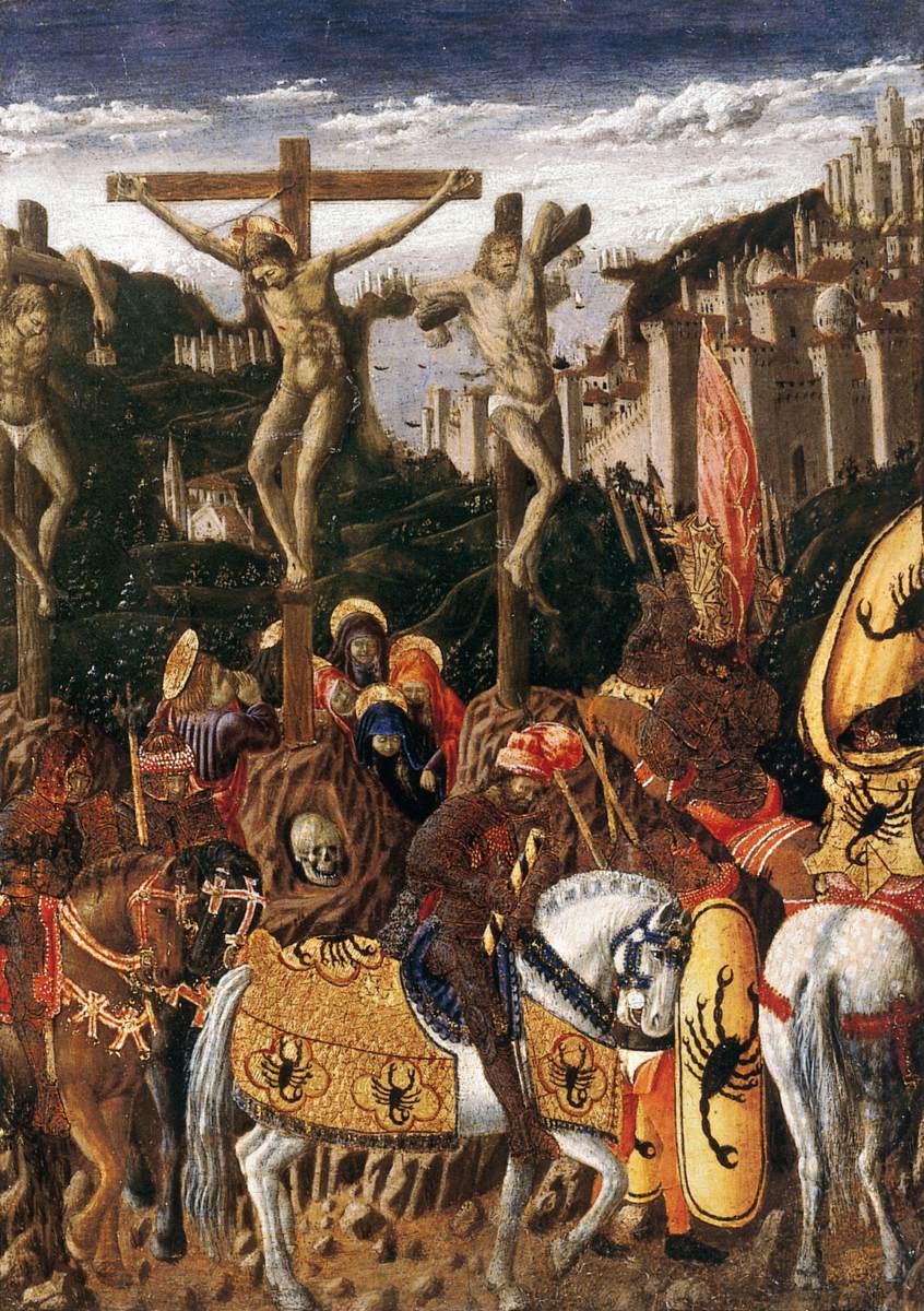 image:Crucifixion, Giovanni di Piermatteo Bocatti, c. 1420, Umbria. Wikimedia commons (link).
