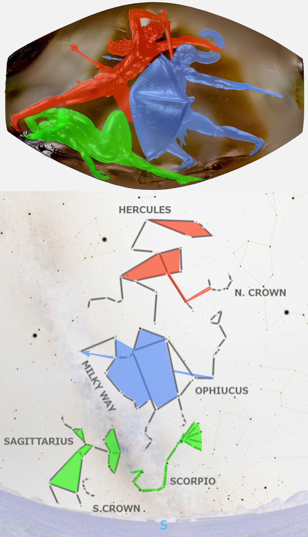 Top image of Pylos Combat Agate from Wikimedia commons (link   here  ), colorized.  Bottom image by the author, using stars from the free open-source planetarium app   Stellarium  .