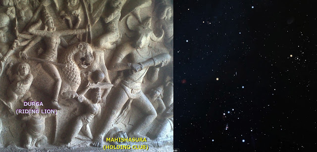 left: Mahabalipuram temple relief, Wikimedia commons (  link  ); right: stars of Orion and Taurus,   stellarium.org  .