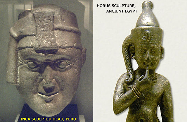 images: Wikimedia commons.  left:   https://commons.wikimedia.org/wiki/File:Cabeza_inca_con_llautu_y_mascaipacha_(M._América,_Madrid)_01.jpg    right:   https://commons.wikimedia.org/wiki/File:Harpocrates_gulb_082006.JPG