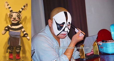 images: (Left) Kachina doll depicting a Koshari. Wikimedia commons (  link  ). (Right) Actor in the Beijing opera putting on traditional black-and-white face paint design (  link  ).