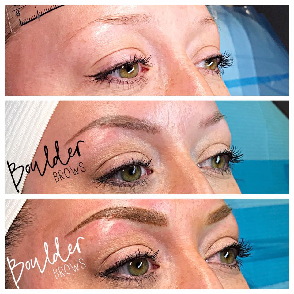 2ND MICROBLADING SESSION   [SAME CLIENT AS PRIOR PHOTO]  Top: Before  |  Middle: Healed After 1st Session  |  Bottom: Immediately After Touchup