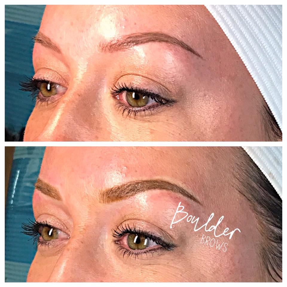 2ND MICROBLADING SESSION   [SAME CLIENT AS PRIOR PHOTO]  Top: Healed After 1st Session  |  Bottom: Immediately After Touchup