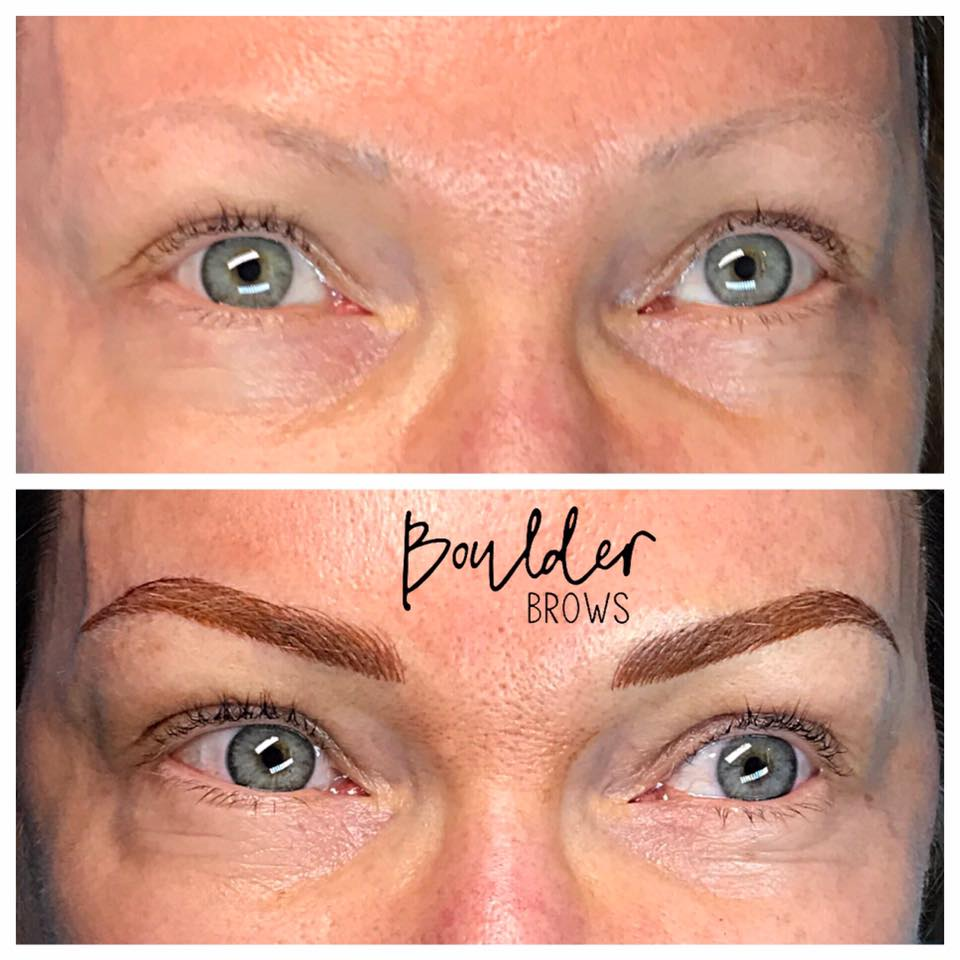Top: Before (Old Faded Tattoo)  |    Bottom: After Microblading/Shading