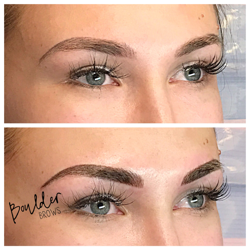 3RD MICROBLADING SESSION  [SAME CLIENT AS PRIOR PHOTO]  Top: Healed After 2nd Session  |  Bottom: Immediately After 2nd Touchup
