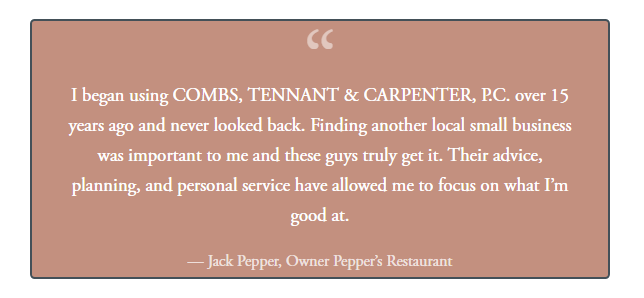 A client testimonial