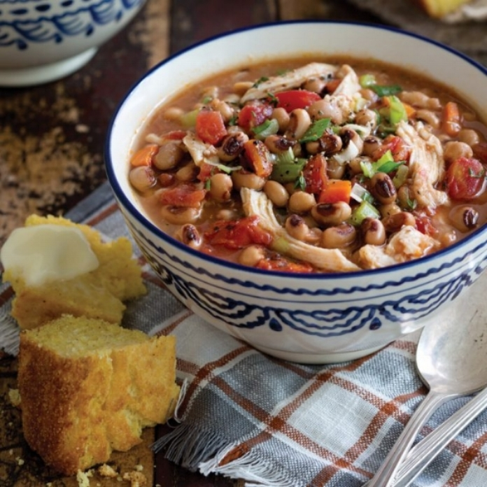 Image of Chicken and Black-Eyed Pea Stew from  Taste of the South  Magazine.