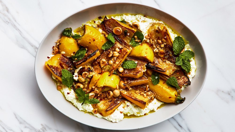 Marinated Summer Squash with Hazelnuts and Ricotta