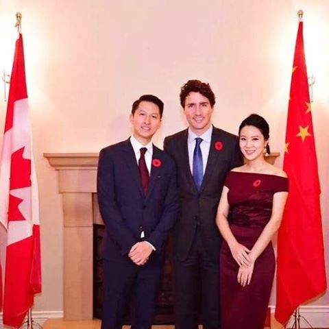 Our beautiful friend Cici wore #KungKatherine to welcome her house guest, Canada Prime Minister Justin Trudeau.  #eveninglook #cocktaildress #MadeinNYC #Canada #PrimeMinister #justintrudeau #diplomatic #ootd #elegant #beautiful #instagood #embroidery #dress #reddress #style #nyc