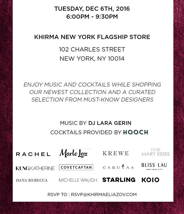 Tonight! Let's kick start the holiday celebration with some festive music, cocktail, and holiday shopping! At @khirmanewyork #WestVillage #NYC #shopNYC #style #look #holidayshopping #Xmas #holiday #sale #deal #love #beautiful #party #event #nycevent #newyork #nyc #KungKatherine
