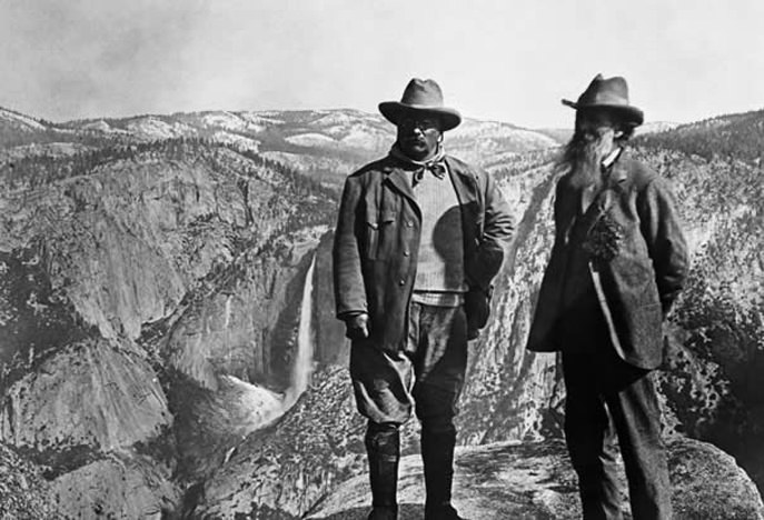 Roosevelt and Muir with Hetch Hetchy in the background