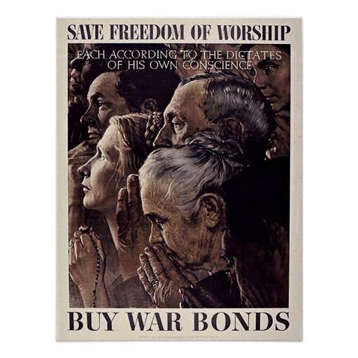 Freedom of Worship War Bonds via  Norman Rockwell