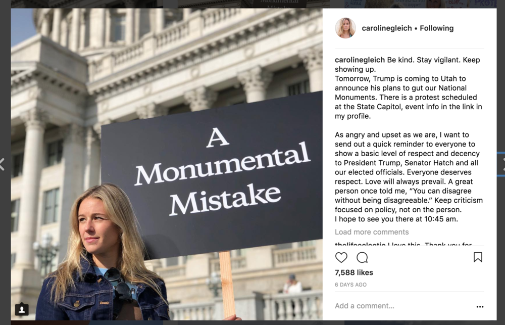Screenshot of Caroline Gleich's Instagram post.