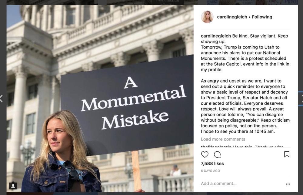Screenshot of Caroline Gleich's Instagram post.