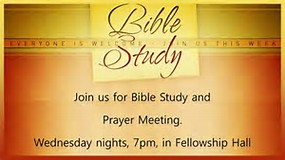 All are Welcome - 6:00 pm - Supper7:00 pm - Bible Study