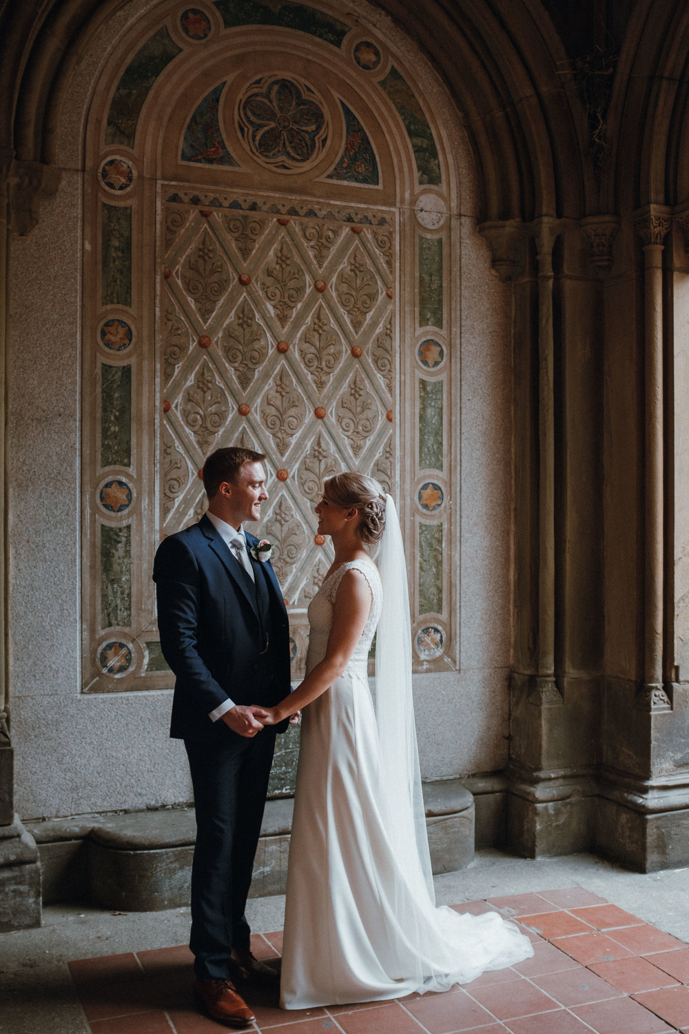 Bride and groom in Bethesda Terrace