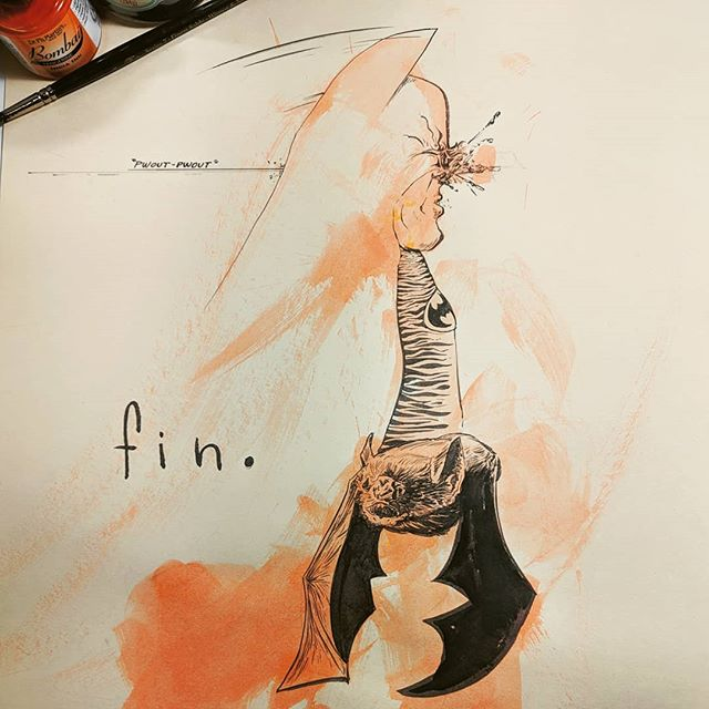 """Batman goes down like every other vigilante, two in the back of the fuck'n head. Cops throw a party."" This was a fun exercise, I painted some orange strokes with my eyes closed and then drew what I saw with brush and ink. Sort of like a rorsache 😳"