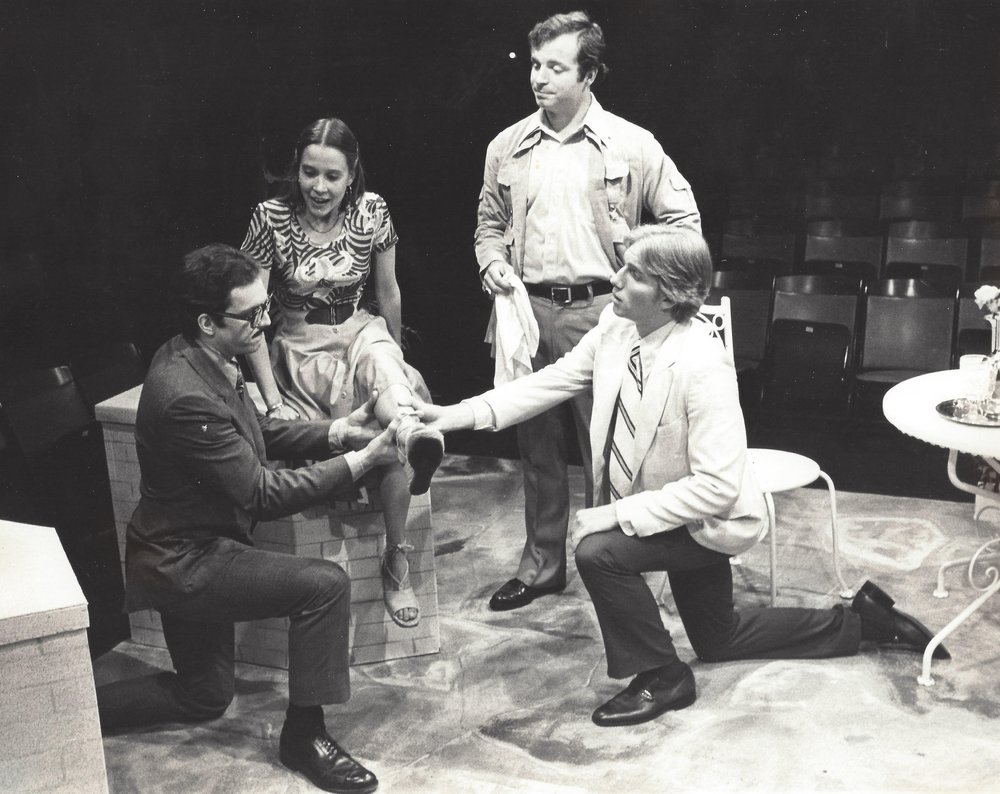 Ed Tracy on stage with Sandy Shinner, Tom McCabe and Christopher Wells in a 1976 production of Sabrina Fair at the Mt Holyoke College Summer Theatre. Inset Above: Ed Tracy with Sandy Shinner for CONVERSATIONS on August 18th, 2016.