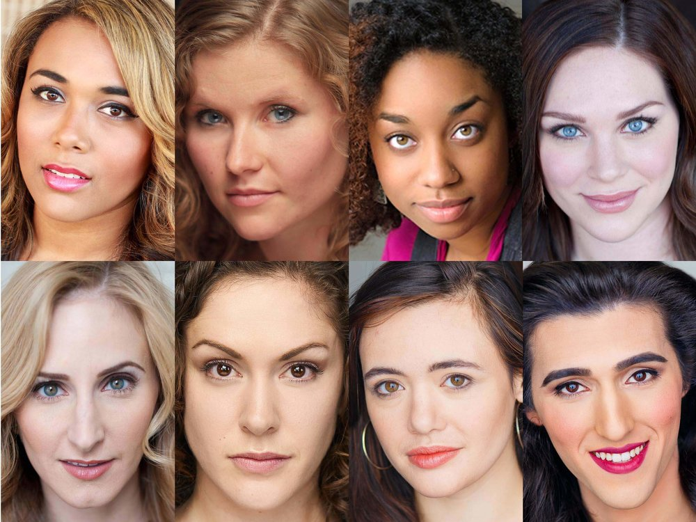 "The cast of Firebrand Theatre's Chicago premiere of LIZZIE (top, l to r) Leah Davis as Bridget, Liz Chidester as Lizzie, Camille Robinson as Emma and Jacquelyne Jones as Alice with the ""late night"" cast (bottom, l to r) Amanda Horvath as Bridget, Kyrie Anderson as Lizzie, Becca Brown as Emma and Elle Walker as Alice."