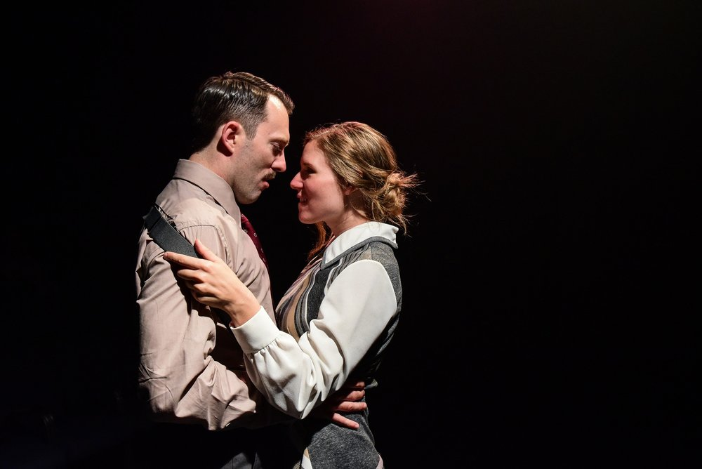 Cody Proctor and Heather Chrisler in Greenhouse Theater Center's production of MACHINAL, by Sophie Treadwell, directed Jacob Harvey with movement by Elizabeth Margolius. Photo by Evan Hanover.