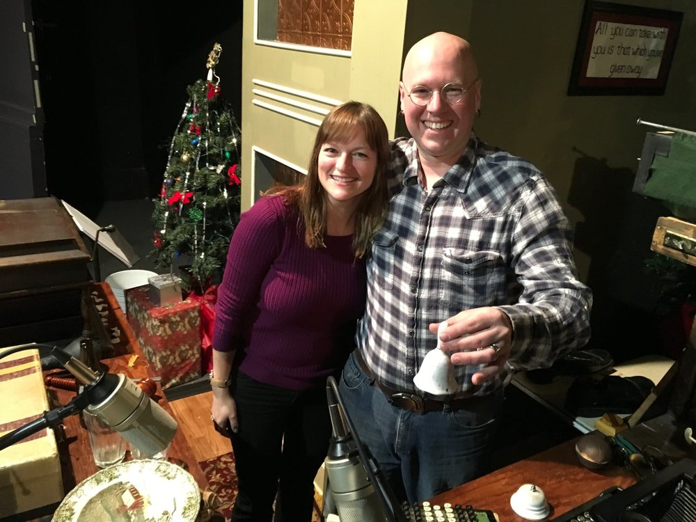 American Blues Theater's Artistic Director Wendy Whiteside and Foley Artist Shawn J. Goudie on the set of It's A Wonderful Life: Live in Chicago!