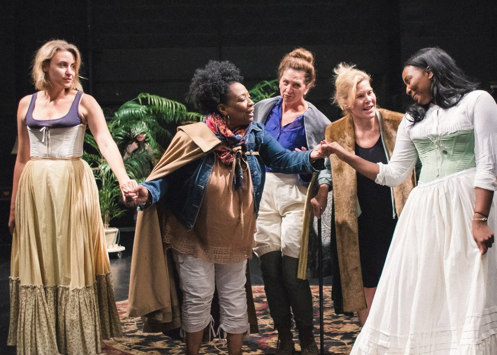 (l-r) Alexandra Henrikson as Katherine, E. Faye Butler as Baptista, Tina Gluschenko as Hortensio, Hollis Resnik as Gremio, and Olivia Washington as Bianca. Photo by joe mazza.