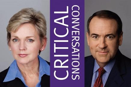 Episode 1: Can We Talk?        CRITICAL CONVERSATIONS       Sunday, March 18th 4:30 p.m.    Former Governors Jennifer Granholm and Mike Huckabee debate hot-button issues from gun rights to immigration reform. Moderator:Frank Sesno Former CNN Washington Bureau Chief.                Spertus Institute       610 South Michigan Avenue           Chicago, IL 60605           TICKETS  WEBSITE