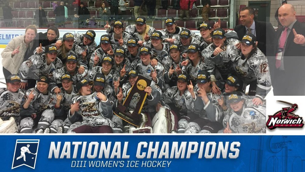 HOMETOWN CHAMPS!The Norwich University Women's Hockey Team won their 2nd DIII NCAA National Championship, first-ever at home in Kreitzberg Arena, Northfield, Vermont! CONGRATULATIONS!