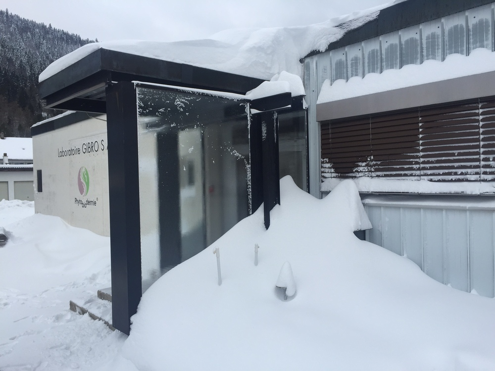 "Our factory, ""Gibro in the Snow,"" Fleurier,Switzerland"