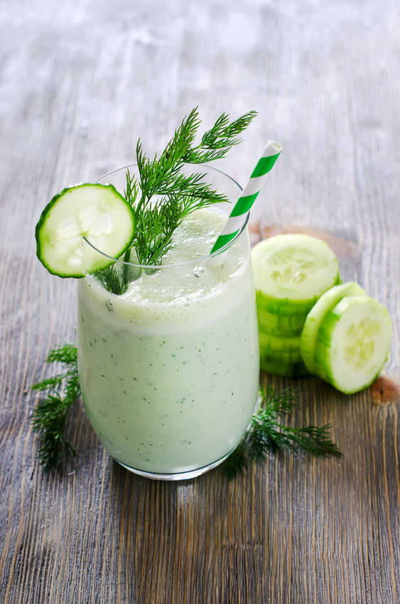Why not make a cucumber cooling smoothie in a high speed blender using coconut milk, cucumer, ice and your favorite sweetener to taste?