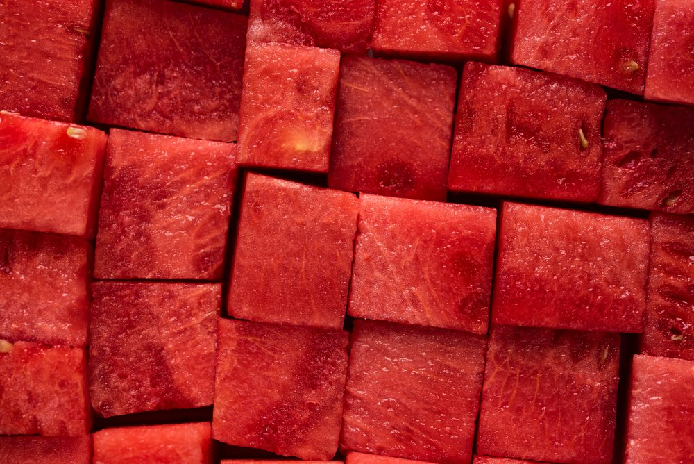 Luscious red juicy watermelon cubes for cool down Summer eating