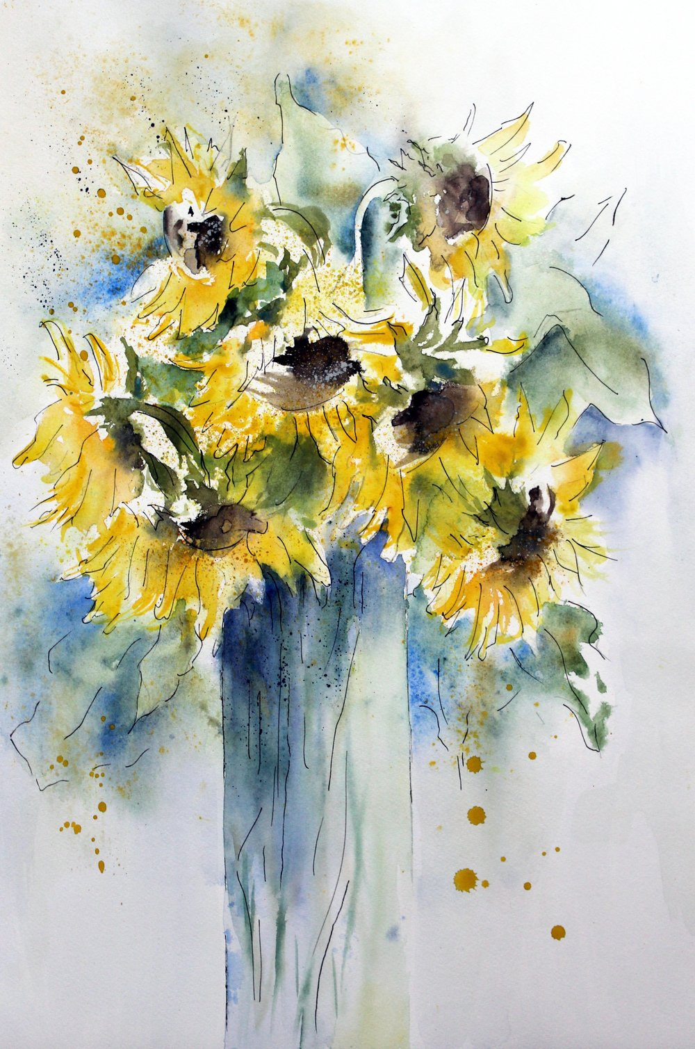 Wilting sunflowers of Indian Summer