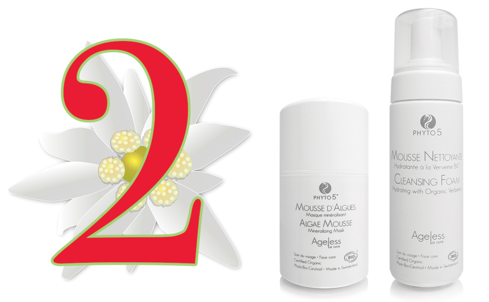 Day 2 of the Twelve Days of PHYTO5 features organic certified all Swiss-made Ageless La Cure Algae Mousse + Cleansing Foam at a 20% discount. Save $19.80.