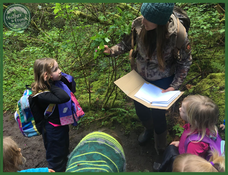 Melissa taking advantage of a teachable moment with Salmonberry! Do you see the butterfly in the leaflets?