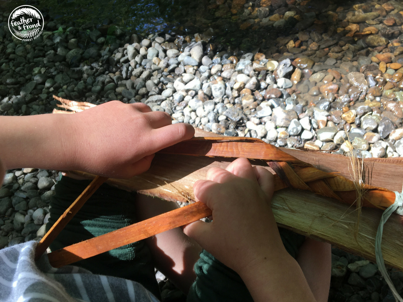sitting along the creek, Braiding Cedar for Bracelets . . .