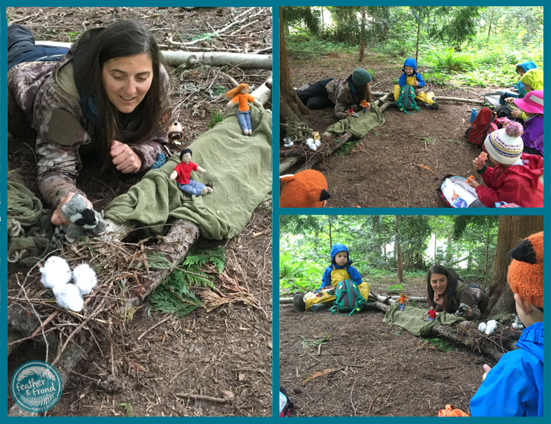 Melissa putting on an amazing puppet show in the forest...
