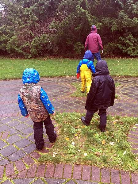 Practicing our sneaking skills- rain pants are loud!
