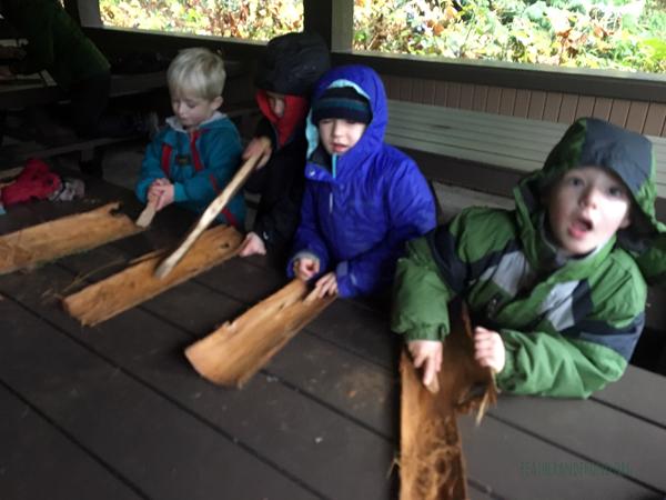 Scraping Cedar Bark