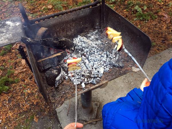 Ap-ples roasting on an open fire....