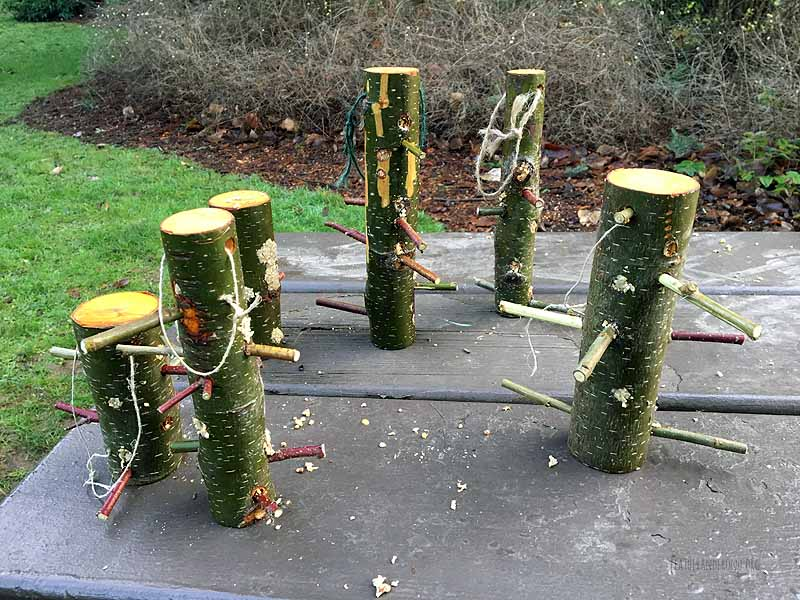 Log Bird Feeders
