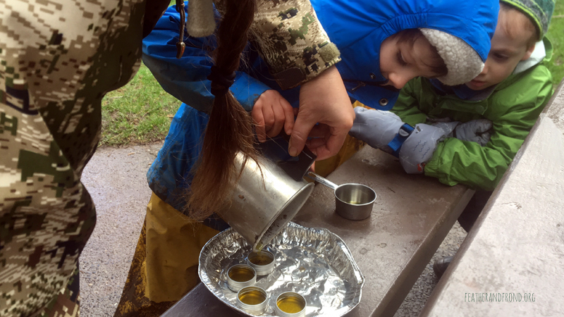 Pouring into salve containers